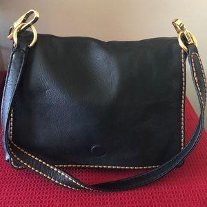 Black Leather Plinio Visona shoulder bag